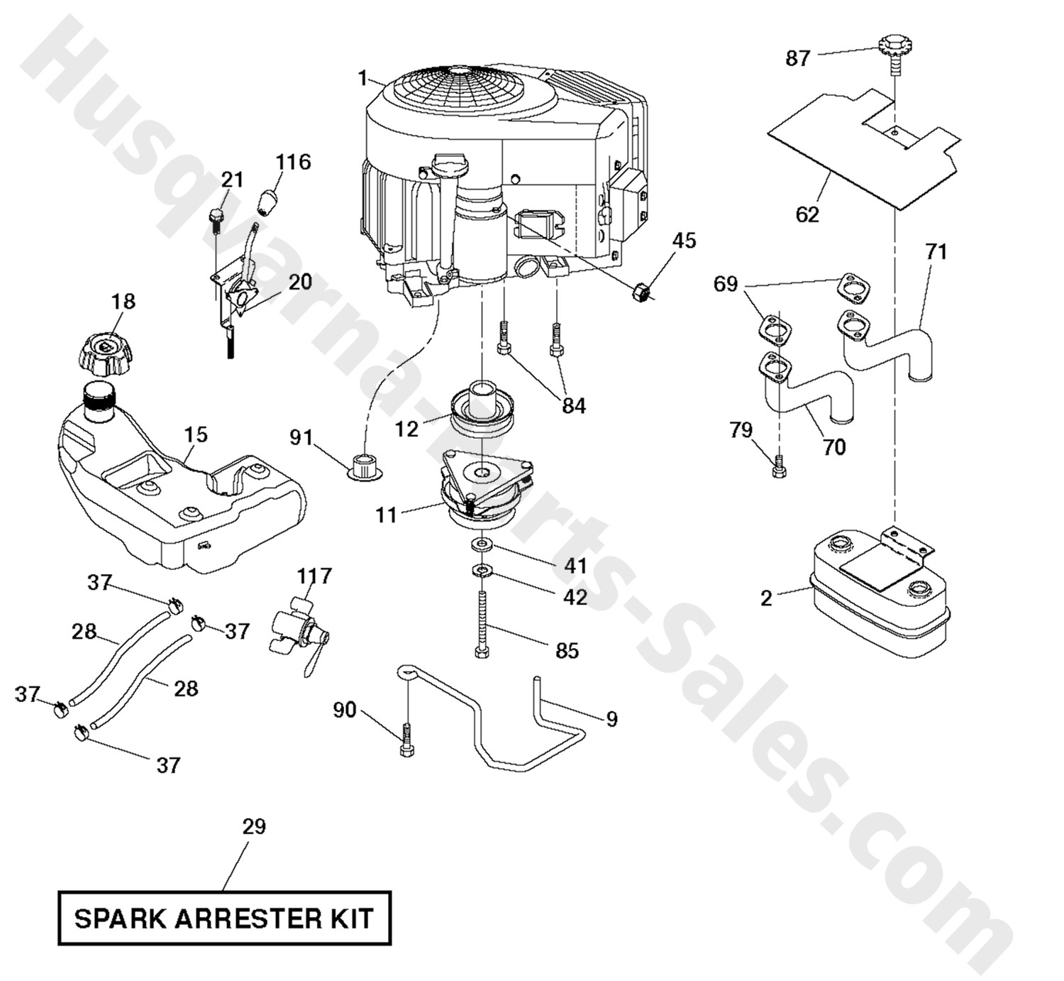 riding mower engine parts