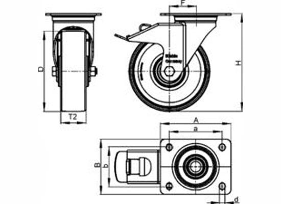 Blickle LE-POEV100R-FI Caster (Black Wheel) Online At Low