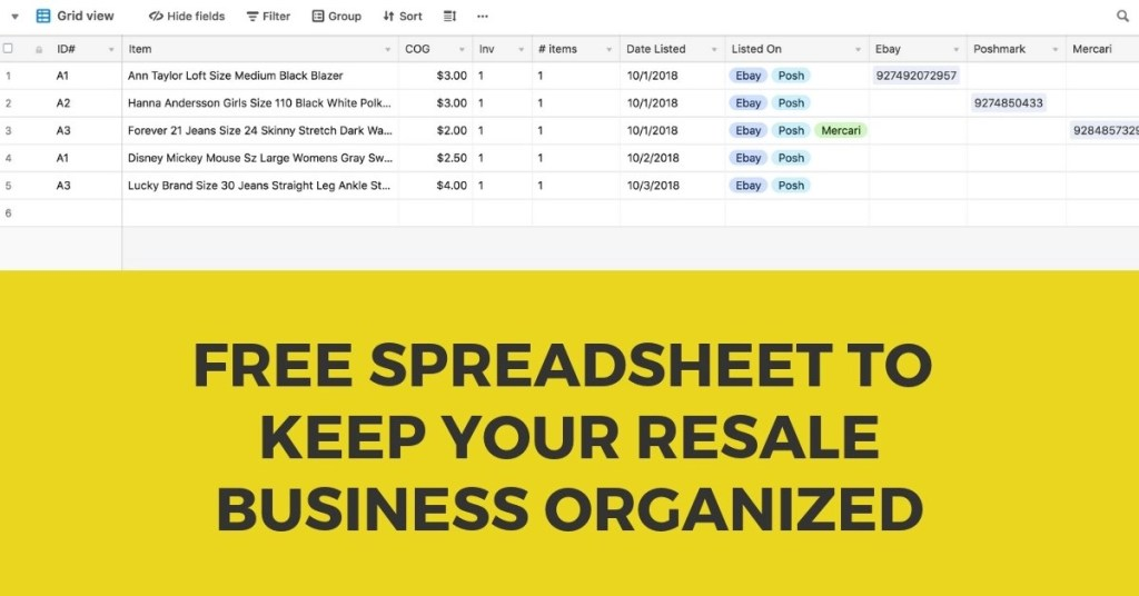 FREE Reseller Spreadsheet for Ebay Poshmark Mercari