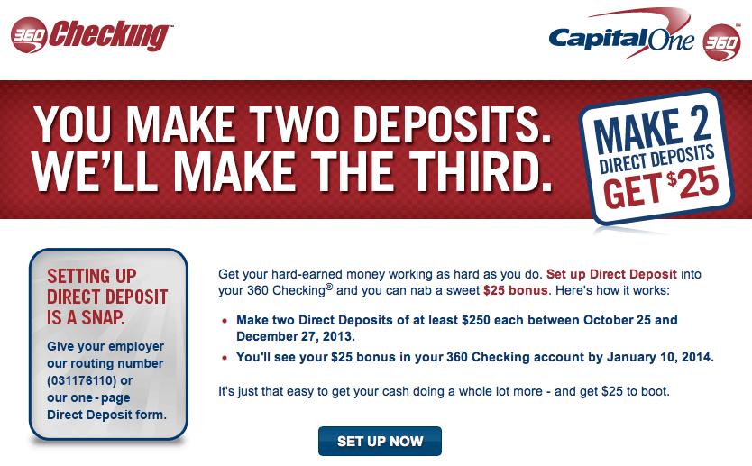 Open Class Action Lawsuits >> Capital One 360 $25 Direct Deposit Bonus Promotion