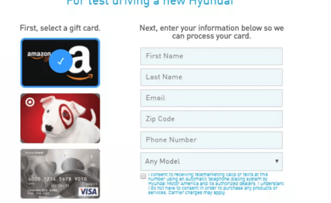 Hyundai Test Drive 40 Gift Card Promotion Amazon Target Or Visa Gift Card Ymmv