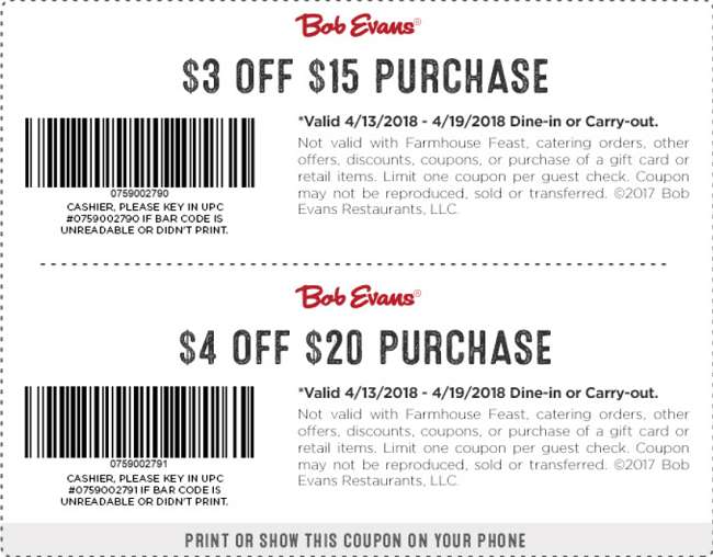 Bob Evans Coupon Promotion Up To 4 Off Purchase