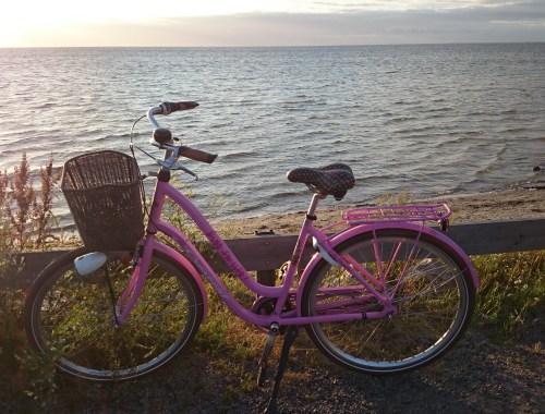 Cykel vid strandkant