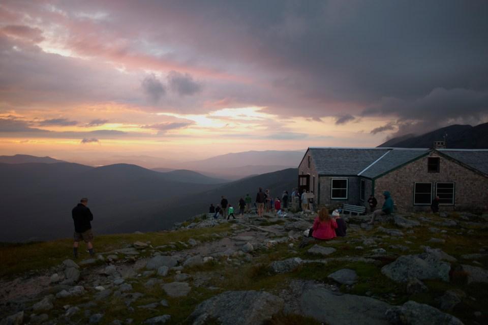 Sunrise lake of clouds, hut, Appalachian Mountain Club Huts Photos, hut2hut