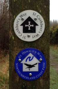 Markers for St. Oswald's and St. Cuthbert's pilgrim paths, Northumberland, UK © Amanda Wagstaff 2016