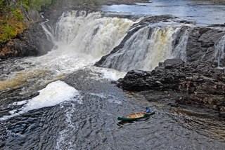 Canoe at Grand Falls, Maine Huts & Trails, hut2hut