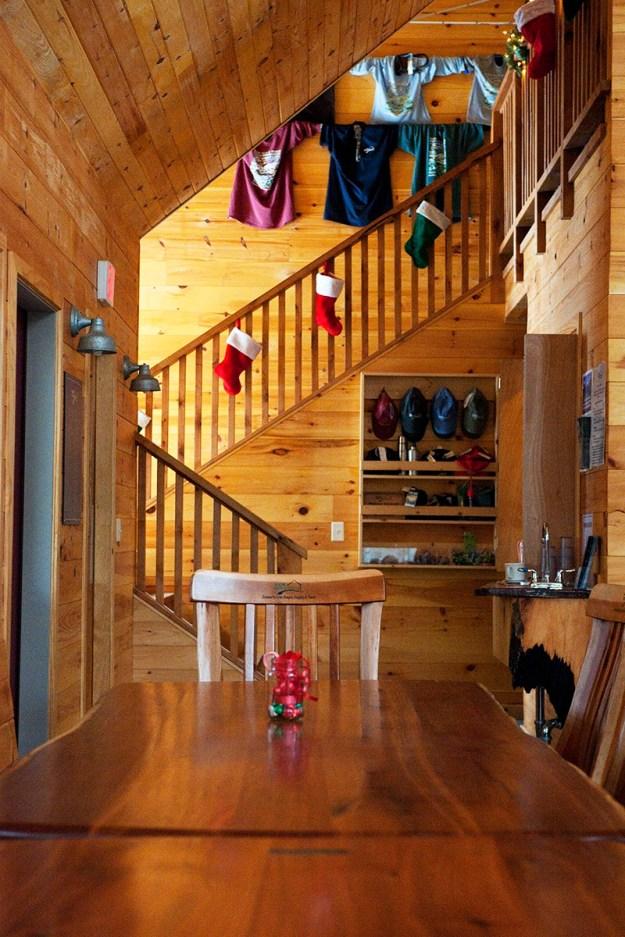 Poplar Stream Hut Interior, Maine Huts & Trails, hut2hut