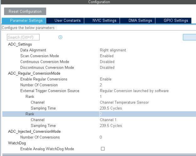 ADC1 konfigurointiasetukset