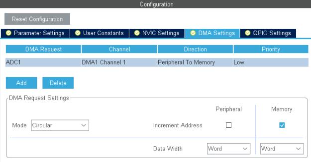 ADC1 DMA konfigurointi