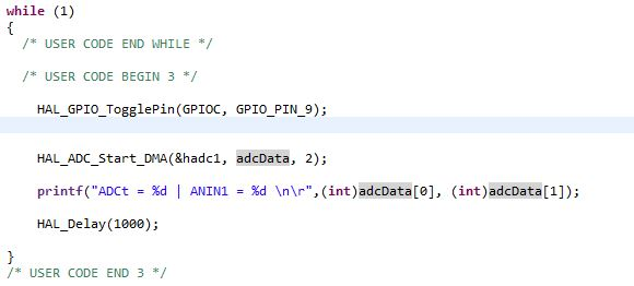 STM32:ssa käytetty koodi datan lähetykseen.