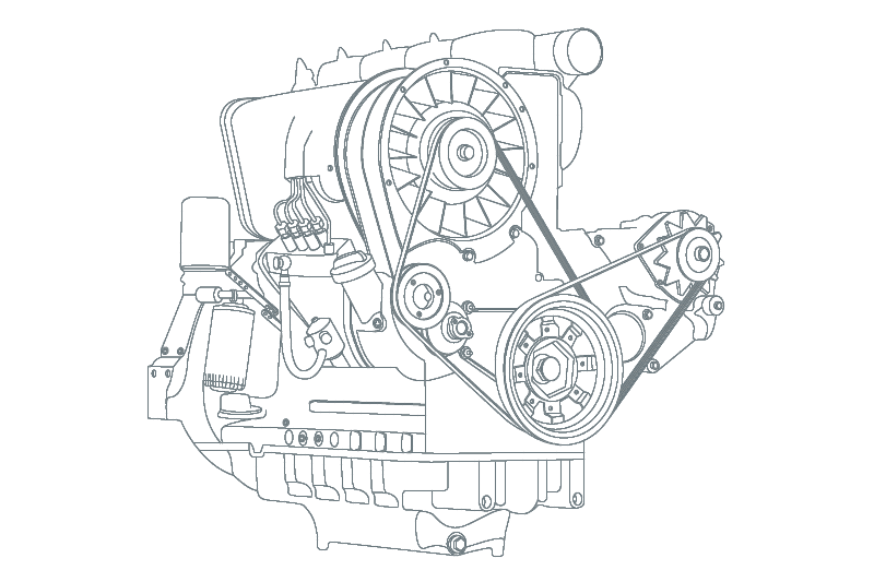 Industrial engine belt drive : Power transmission