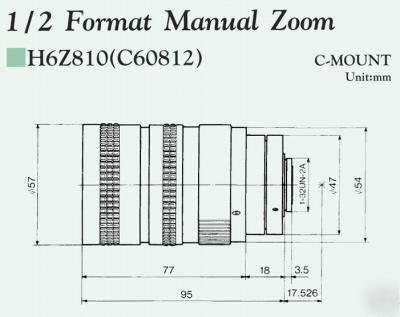 Pentax / cosmicar 8-48MM zoom c-mount video lens