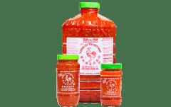 Chili Garlic 8oz, 18oz, and gallon bottles together