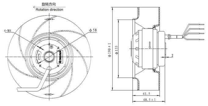 Outer Rotor Motor Backward Curved Centrifugal Blower Fan