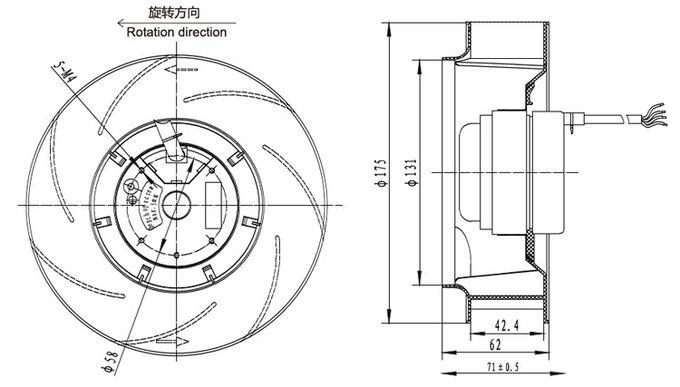 Backward Curved Centrifugal Exhaust Fan Blower 175mm