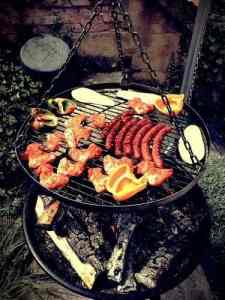 bbq of meats and veggies