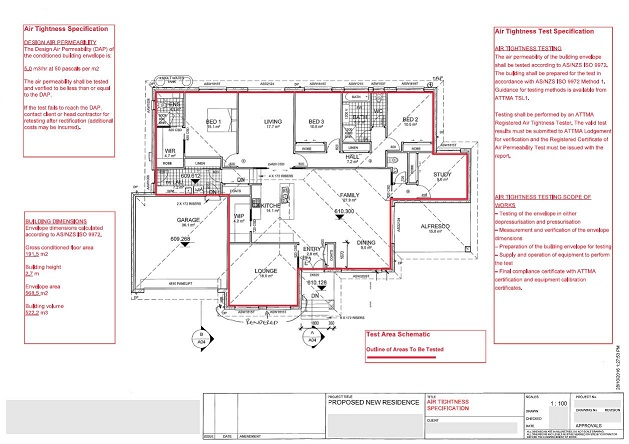 an example of a specification for air tightness and air tightness testing on a residential project: