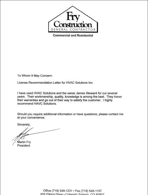 vendor letter of recommendation