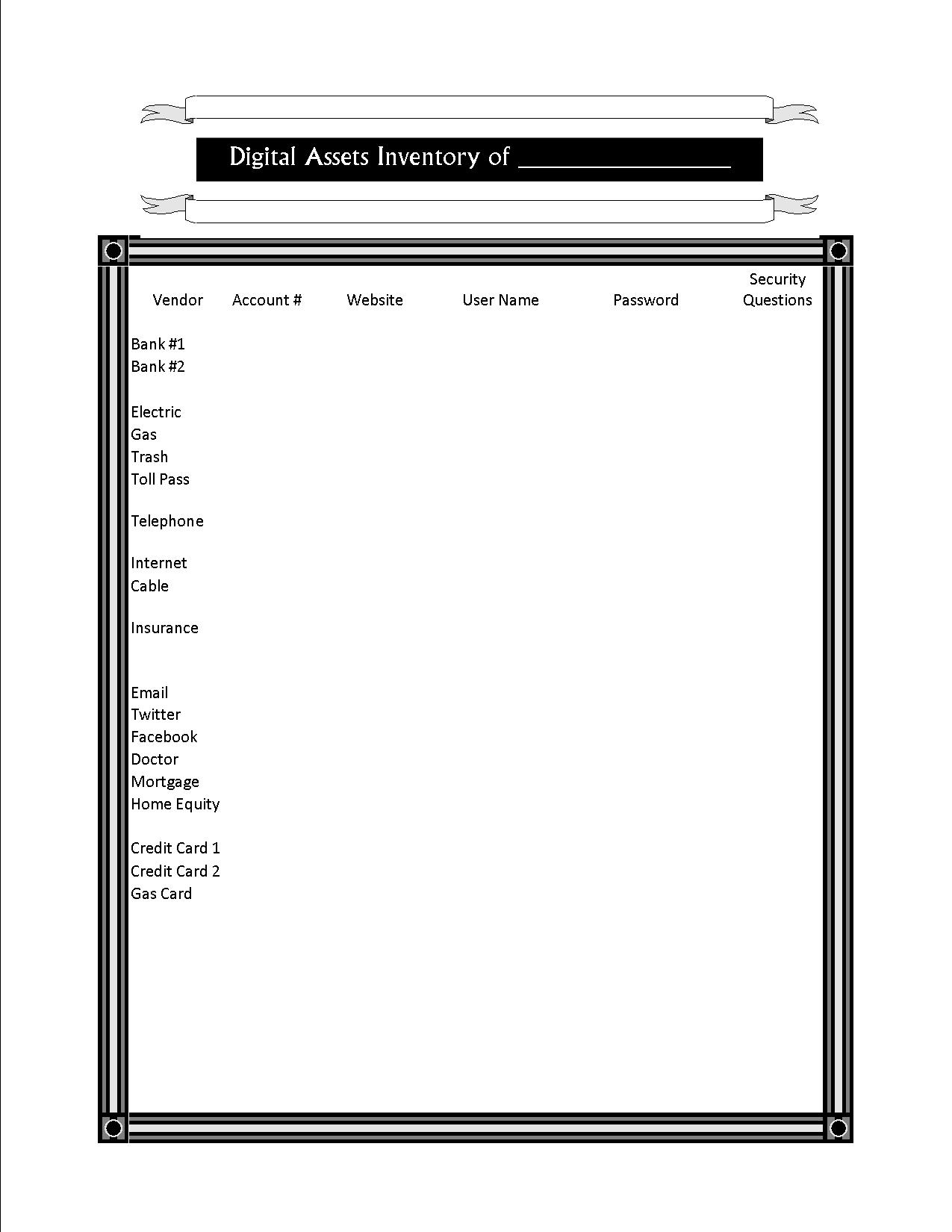 Sample Digital Asset Inventory « Horowitz Law Offices