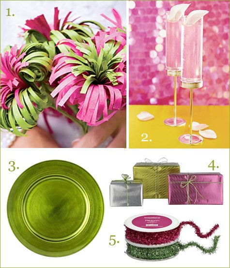 pink and green holiday decor