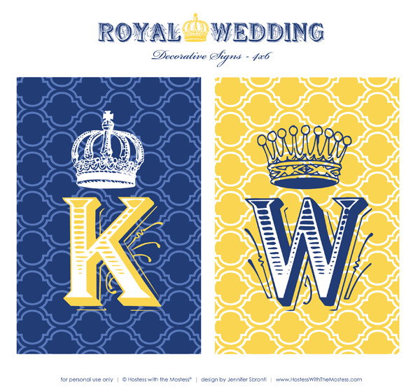 Royal Wedding Theme  Printables Part 2  Hostess with
