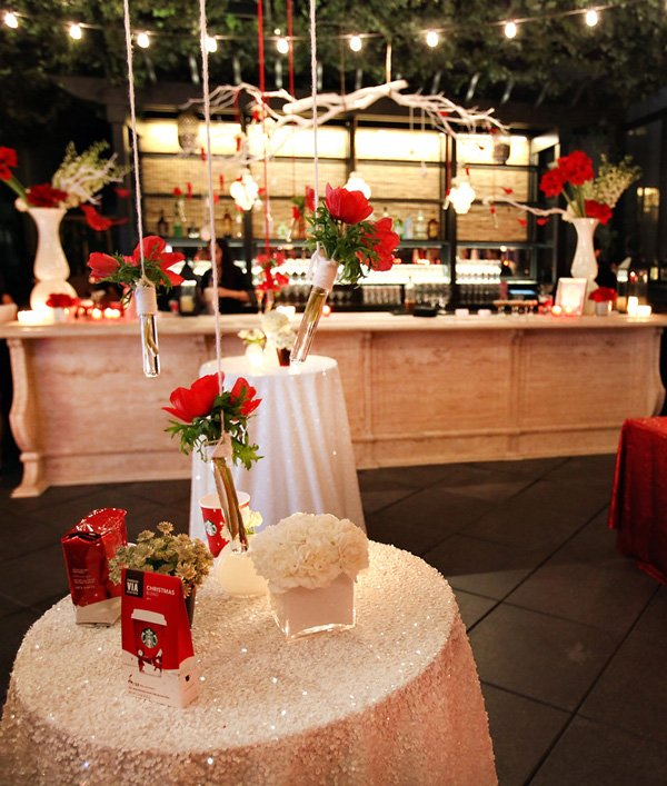 Modern Red and White Holiday Party - Bar and Cocktail Tables