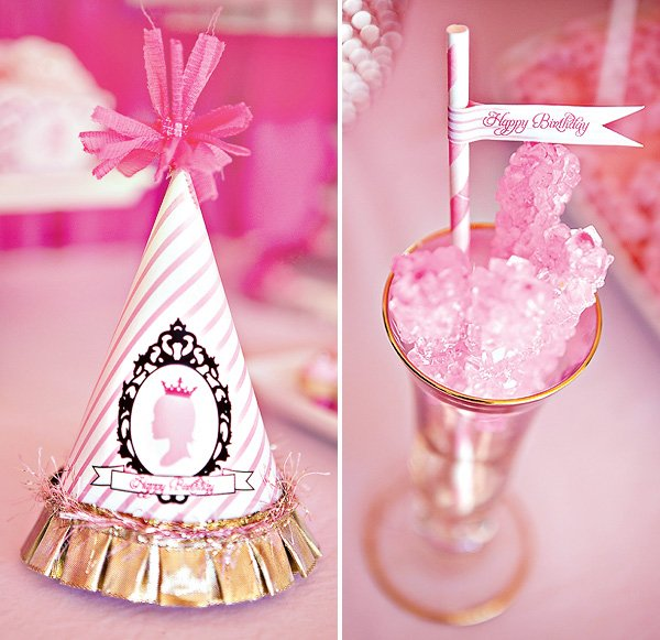 pink princess party hats and pink rock candy