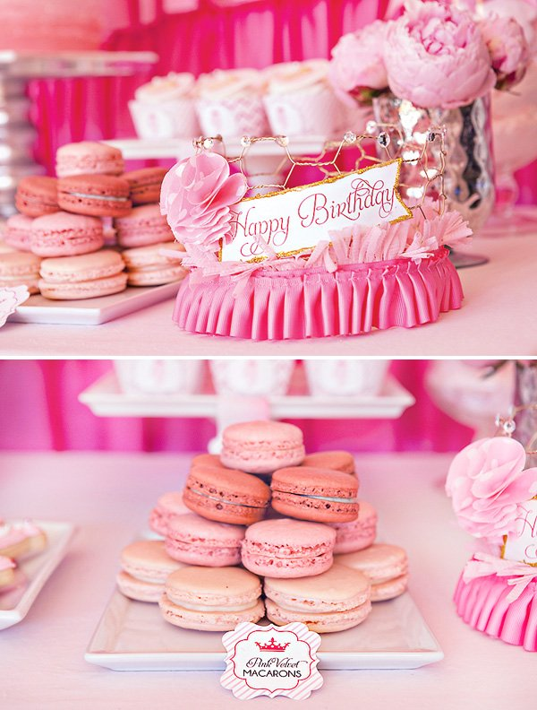 pink princess party birthday crown and pink macaroons