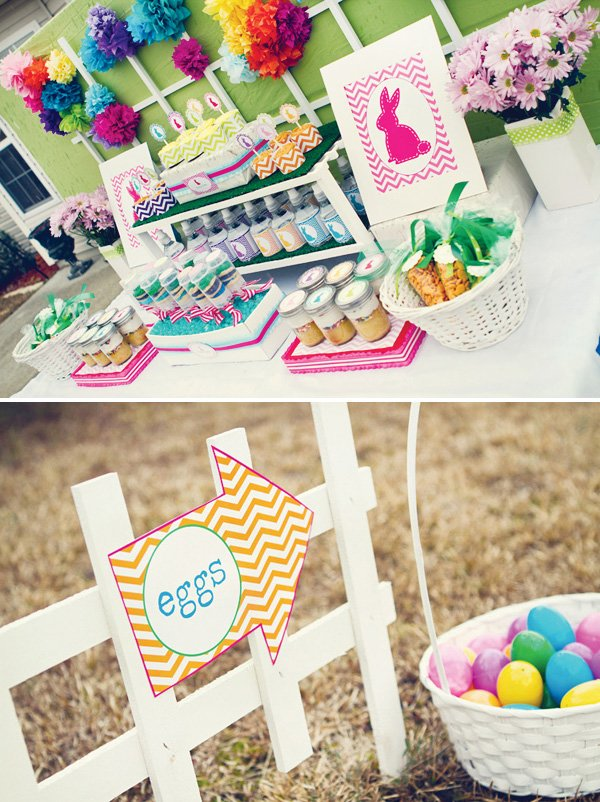 colorful easter party dessert table with chevron print