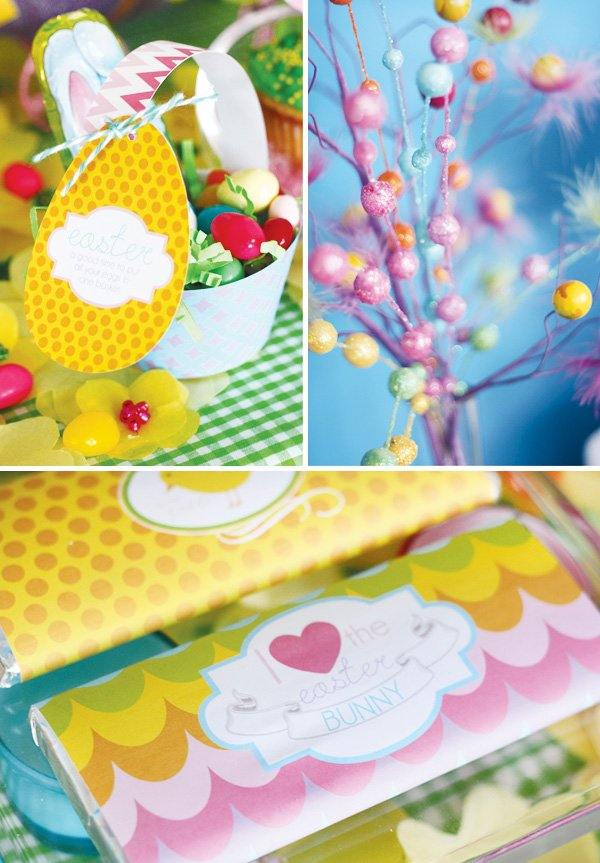 easter bunny collection egg baskets and chocolate labels
