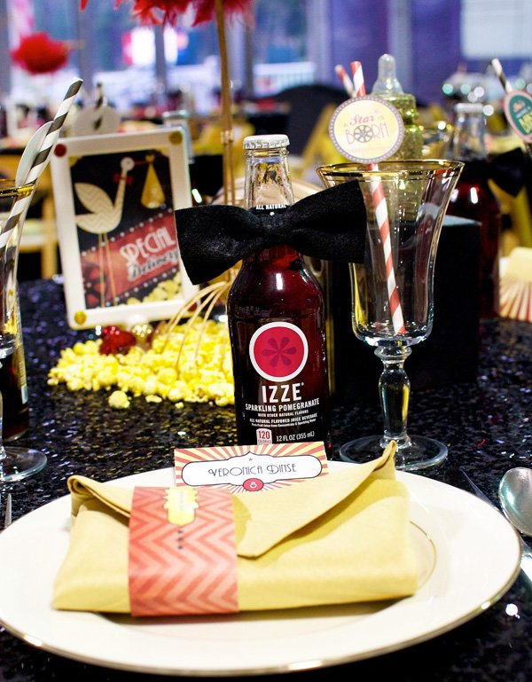 Hollywood Baby Shower Theme Part - 16: A Star Is Born - Hollywood Baby Shower Place Setting With Bow Tie IZZE