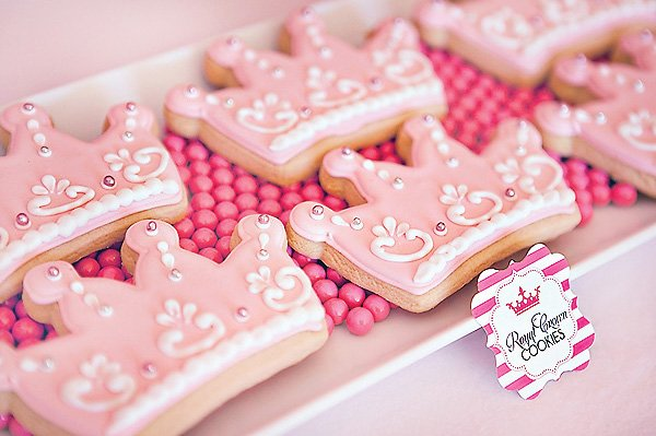 pink princess crown sugar cookies