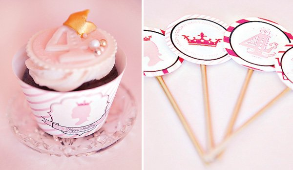 pink princess party cupcakes and DIY cupcake toppers