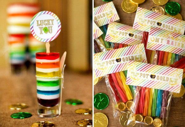 rainbow jello shots and rainbow twizzlers with st. patrick's day printables