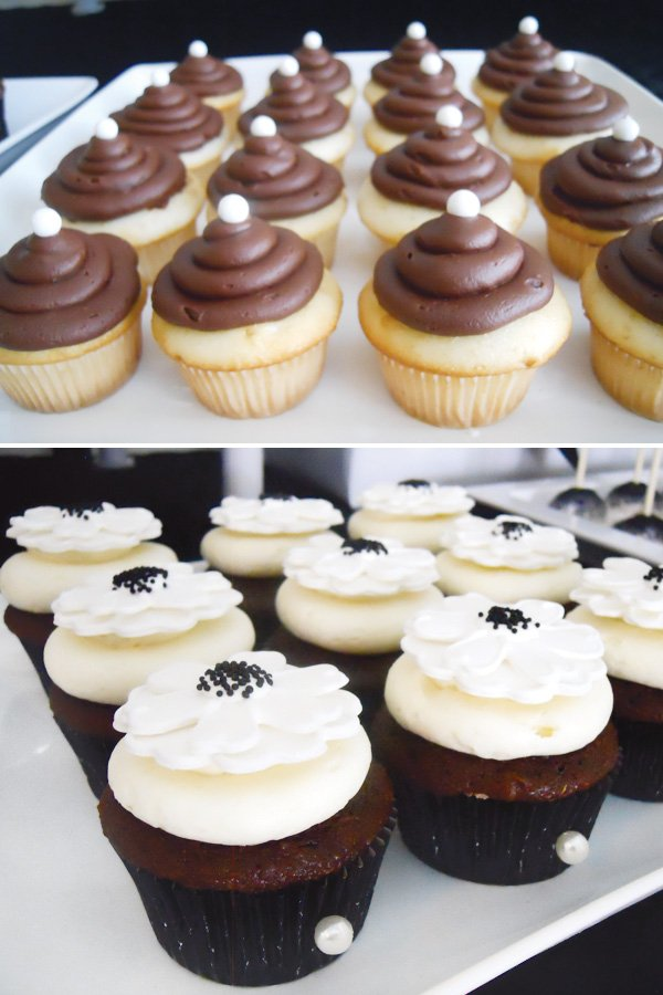 black and white cupcakes with pearls