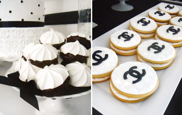 coco chanel black and white logo cookies and merengues