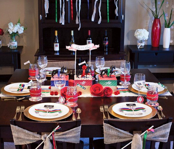 kentucky derby party tablescape and decorations