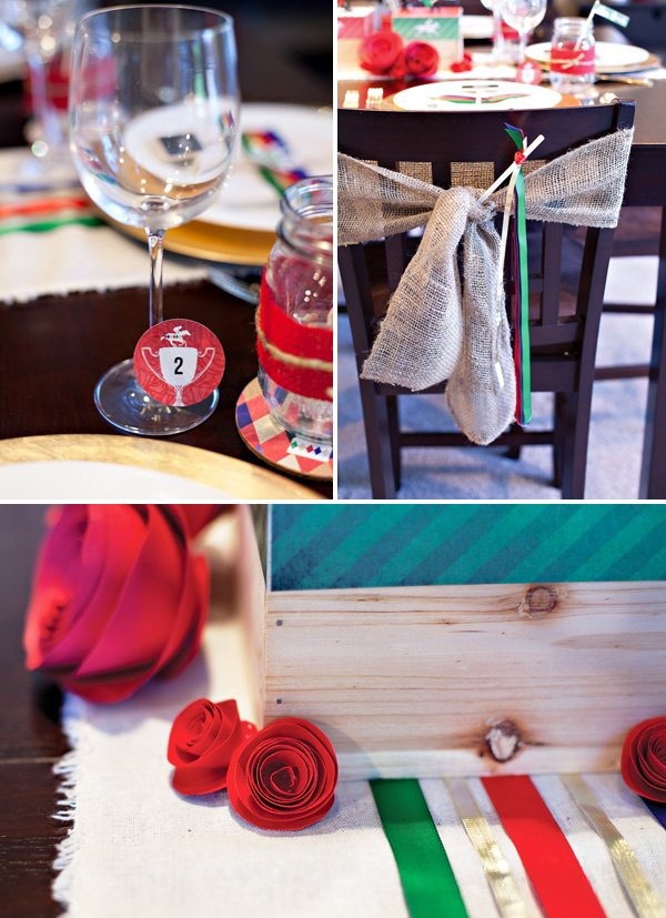 kentucky derby party printables, ribbon wants, burlap chair ties, and red paper roses
