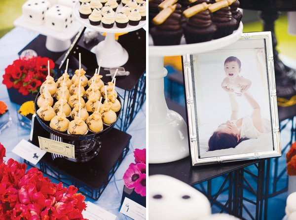 monopoly birthday party money bag cake pops and silver picture frames