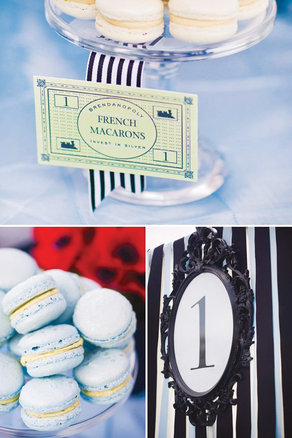 monopoly birthday party macarons and money labels