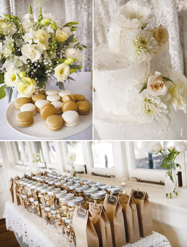 simple white wedding macaroons and white cake