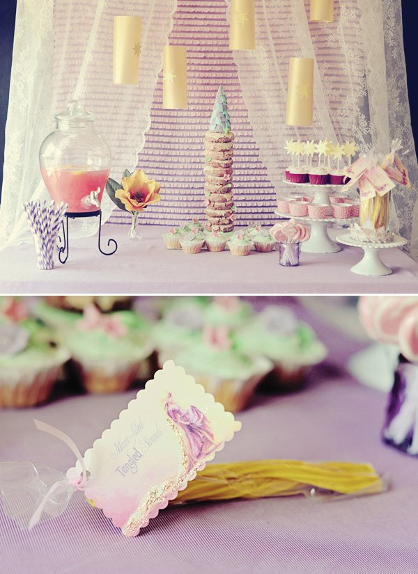 tangled birthday party dessert table
