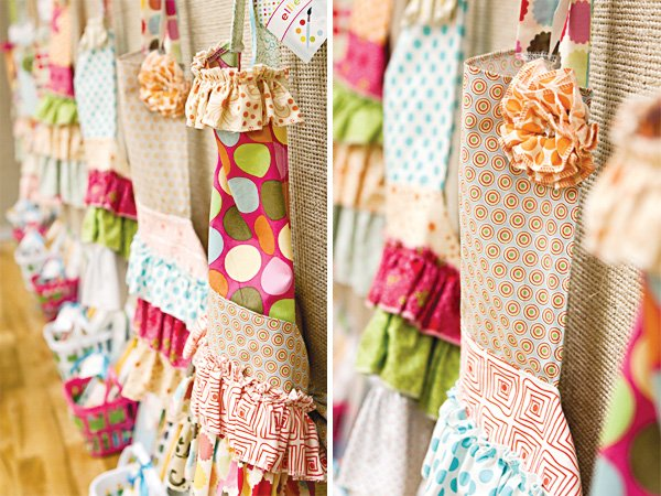 arts and crafts party ruffle aprons
