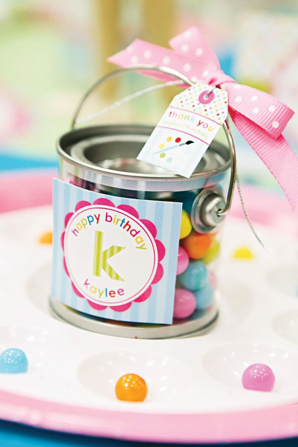 arts and crafts party paint can favors