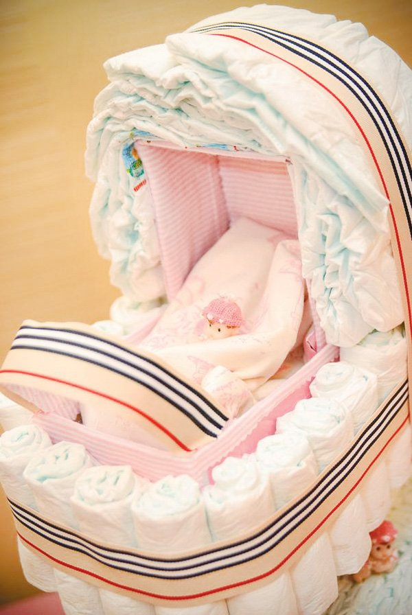 burberry baby shower with a carriage stroller shaped diaper cake