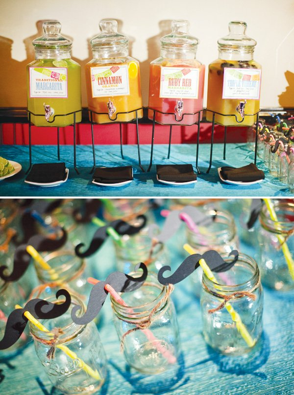 mexican theme fiesta engagement party with mustache straws