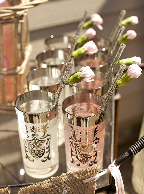 pink and white french party drinks with rose stir sticks