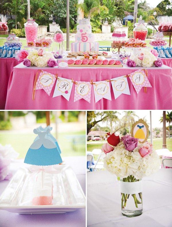 disney princess birthday party dessert table
