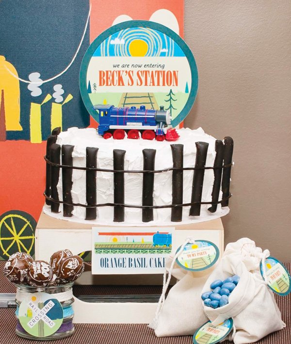 railroad track cake for a vintage train party