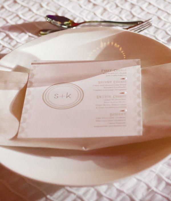elegant white wedding menu